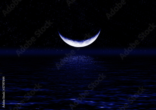 Half of moon in the star sky reflected in water #37197844