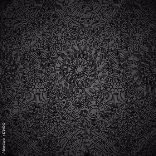 Floral line work seamless pattern