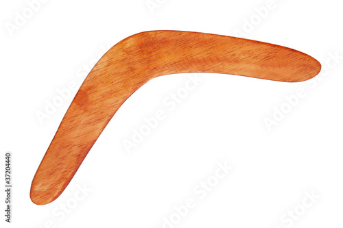 фотография  Boomerang bright brown color of wood