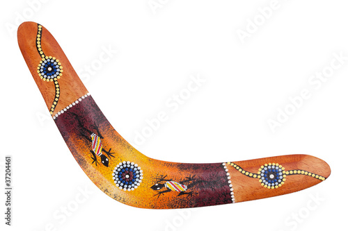 Wooden boomerang pattern decorated with lizards Canvas Print