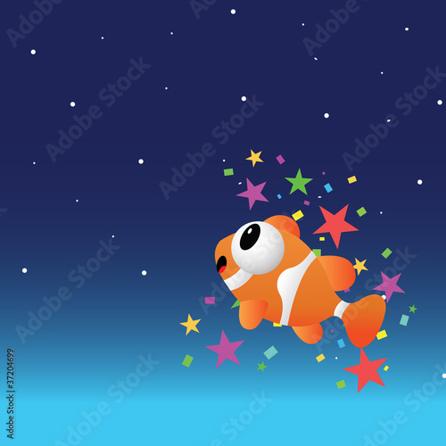 Foto op Canvas Kosmos Fish in the night sky with color stars