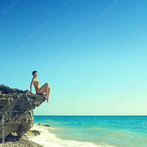Photo Beautiful woman on beach