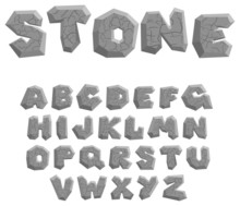 Vector Cracked Stone Alphabet On A White Background