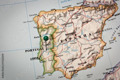 In de dag Wereldkaart Iberian peninsula Map