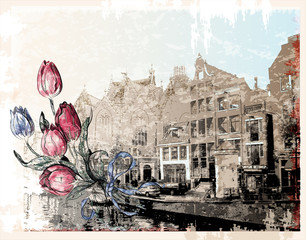 Panel Szklany Tulipany vintage illustration of Amsterdam street. Watercolor style.