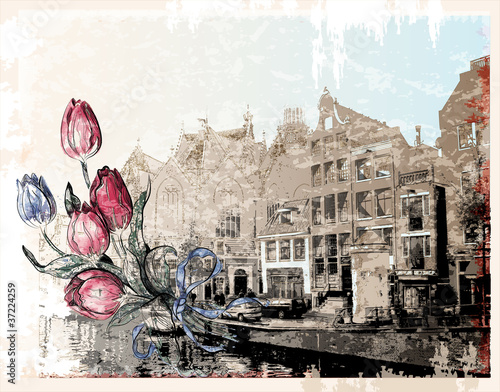 Photo  vintage illustration of Amsterdam street. Watercolor style.
