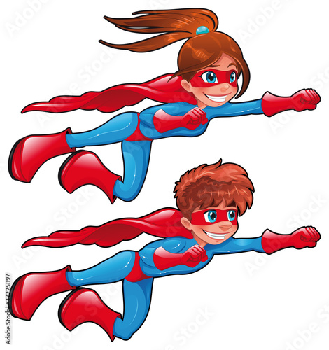 Poster Superheroes Young superheroes. Vector isolated characters