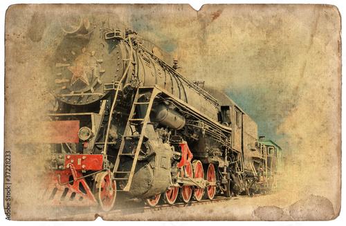 Vintage military postcard isolated, old locomotive