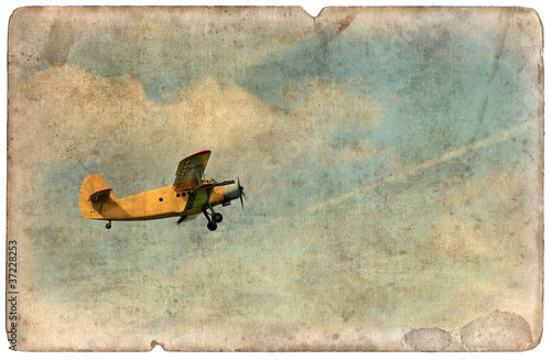 Obraz na plátne Vintage military postcard isolated, flying biplane