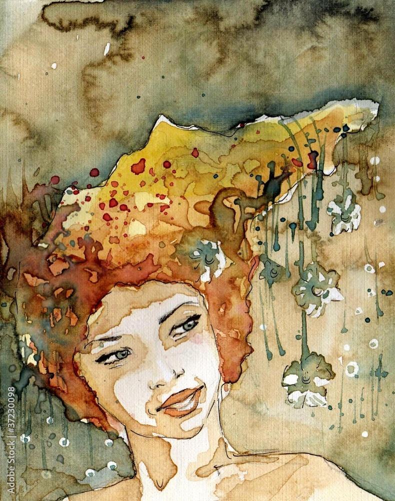Akwarela z portretem kobiety.
