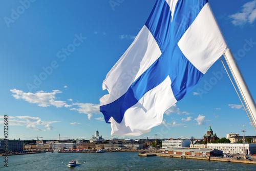 Poster Scandinavie Waving Finnish Flag