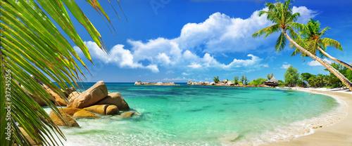 Foto-Schiebegardine Komplettsystem - tropical paradise - Seychelles islands
