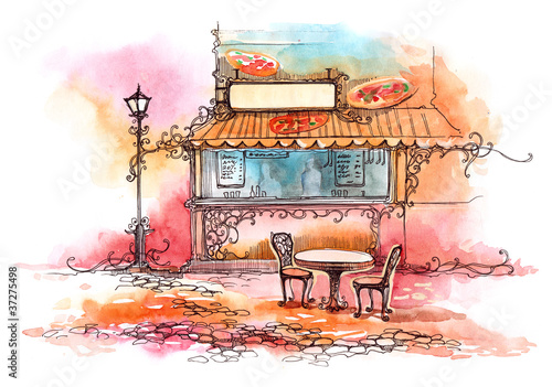 Photo sur Toile Drawn Street cafe pizzeria