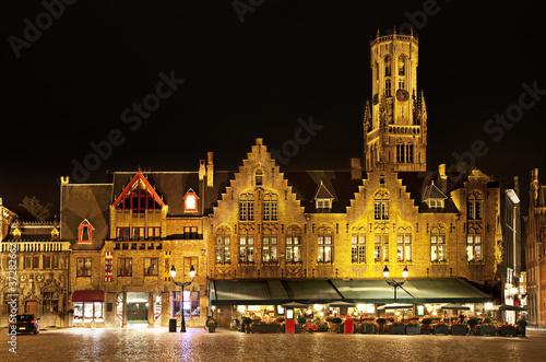 Deurstickers Brugge Bourg square at night, Bruges. Belgium