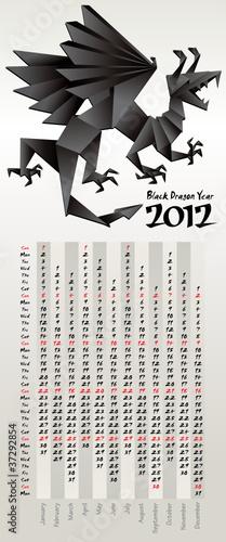 Fototapeta Black Dragon Year, calendar 2012, vector obraz na płótnie