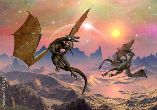 Foto op Aluminium Draken Dragons - Fantasy World 03