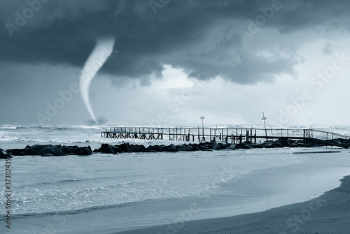 twister near the pier in summer #37302439