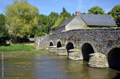 Old bridge at Asnières sur Viègre in France Canvas Print