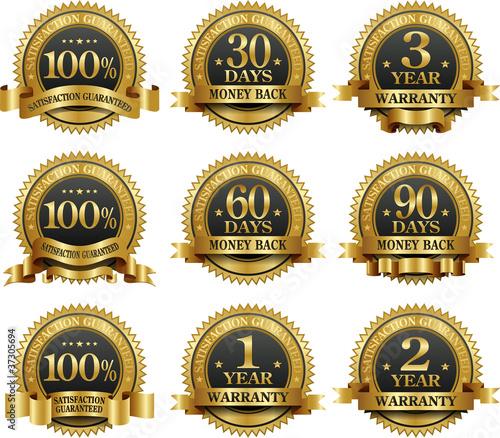 Fotografía  Vector set of 100% guarantee golden labels