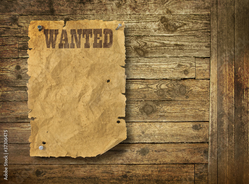 Valokuva  Wild West wanted poster on old wooden wall