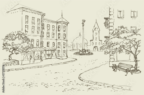 Keuken foto achterwand Drawn Street cafe Vector architectural landscape. Old street of the city center