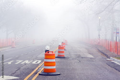 Danger on Road - Fog and Construction Poster