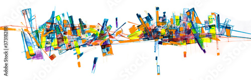 Abstract city skyline painting #37318288
