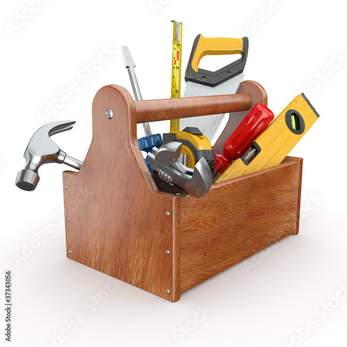 Fotografía  Toolbox with tools. Skrewdriver, hammer, handsaw and wrench