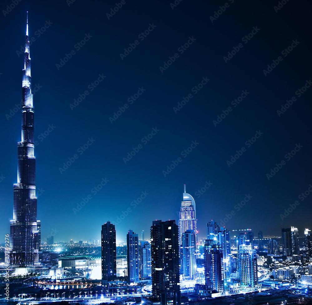 Photo  Dubai downtown at night