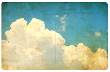 Vintage Sky And Clouds, Retro Postcard Isolated