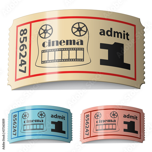 Poster Affiche vintage vector 3d shiny curled cinema tickets