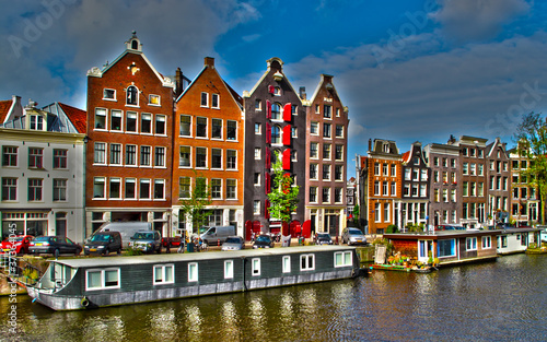 Photo Stands Amsterdam Amsterdam houses and houseboats, Netherlands, HDR photo.