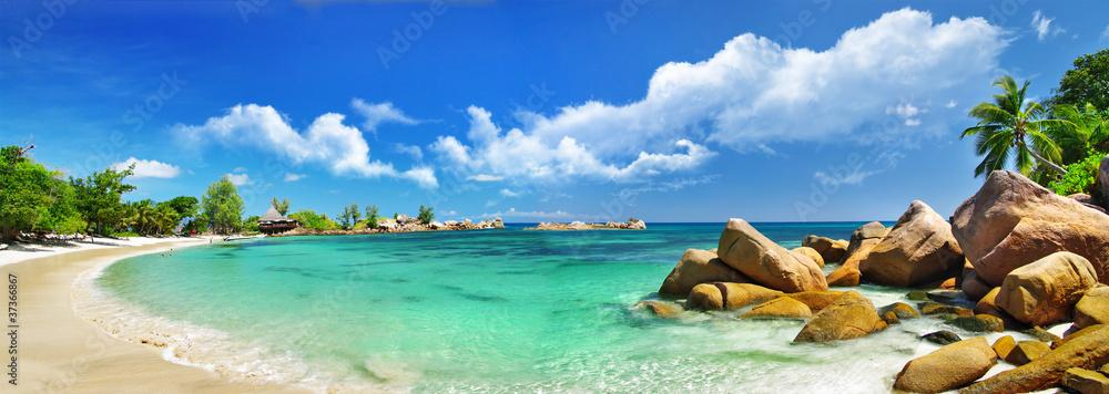 Fototapeta Seychelles , beach panorama