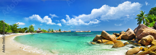Foto-Schiebegardine Komplettsystem - Seychelles , beach panorama