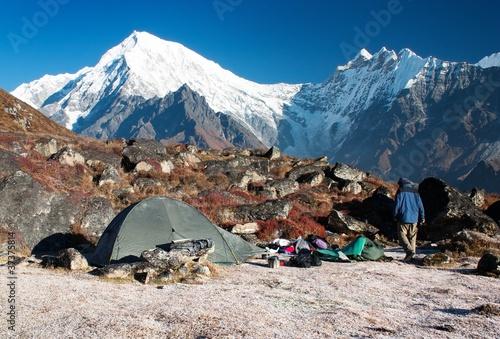 Wall Murals Nepal langtang peak and camping