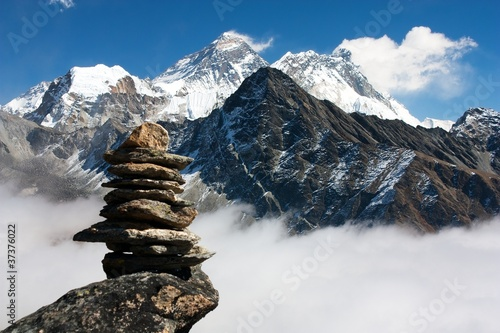 Wall Murals Nepal view of everest with stone man from gokyo ri