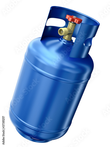 Fotografie, Obraz  Blue gas container isolated on white background