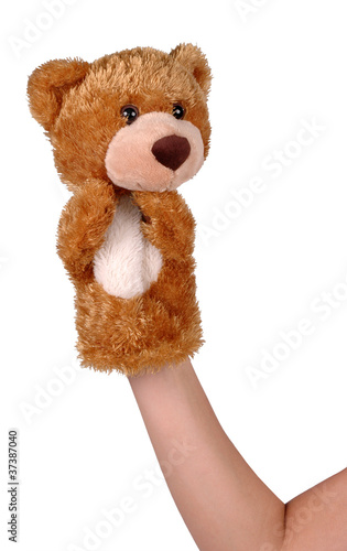 Hand puppet of brown bear isolated on white #37387040