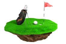 3d Golf Field On Green Grass I...