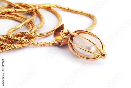 Obraz na płótnie gold necklace with pearl