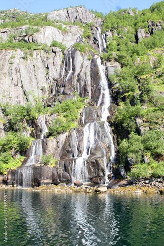Wall Murals Arctic Trollfjord's waterfall