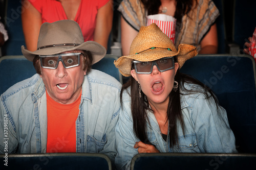 Cuadros en Lienzo Shocked Couple with 3D Glasses