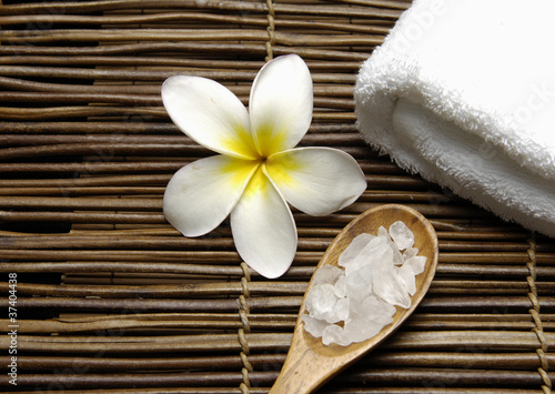 Poster Spa Spa objects with towel, frangipani flower,
