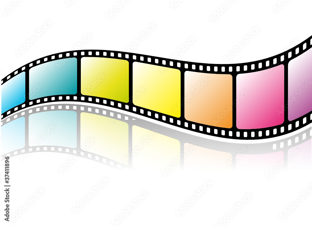 Fototapeta Colorful film strip with reflection