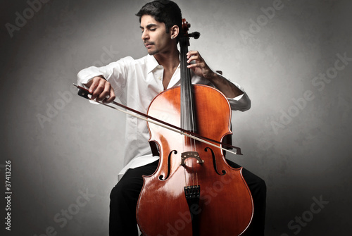 Canvas Cello player