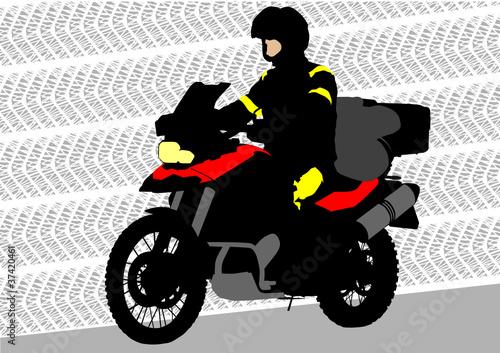 Poster Motocyclette Motorbike of tourist