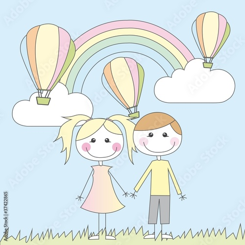 In de dag Regenboog girl and boy cartoons