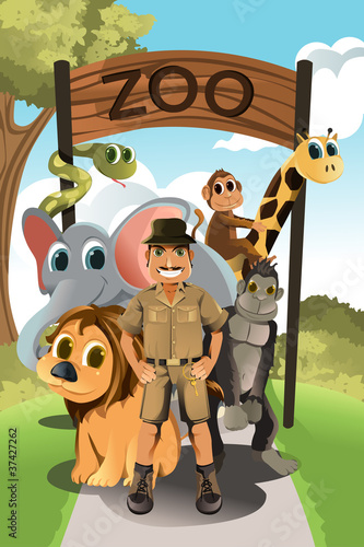 Foto op Aluminium Zoo Zookeeper and wild animals