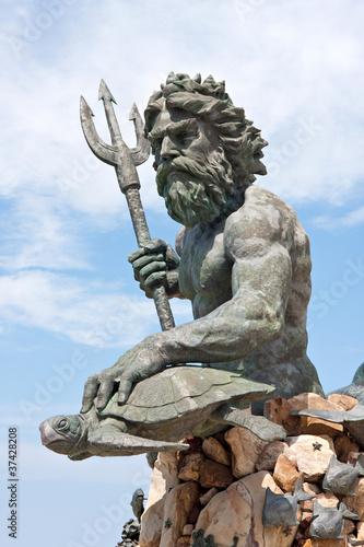 Large King Neptune Statue in VA Beach Canvas Print