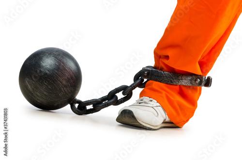 Foto Convict with handcuffs on white